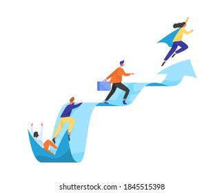 Concept of career ladder or leadership. People moving forward and achieving goals. Competing colleagues. Different levels of specialists. Flat vector cartoon illustration isolated on white