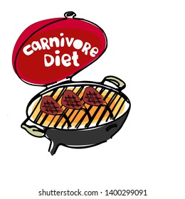 Concept of carnivore, all-meat diet. Hand drawn BBQ stove with hand-lettered words Carnivore Diet on the cover and grilling meat. Excellent for poster, banner, article illustration