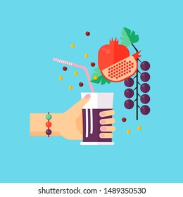 Concept of celebrate card for World Vegan Day. Template card with glass of smoothie in hand and different fruits around.