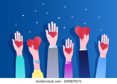 Concept of charity and donation. Give and share your love to people. Hands holding a heart symbol. Flat design, vector illustration on blue background.
