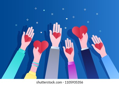 Concept of charity and donation. Give and share your love to people. Hands holding a heart symbol. Flat design, vector illustration on blue background..