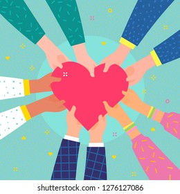 Concept of charity and donation. Give and share your love to people. Several people hold big heart synbol on their hands. Flat design, vector illustration.