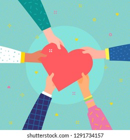 Concept of charity and donation. Give and share your love to people. Several people hold big heart symbol on their hands. Flat design, vector illustration.