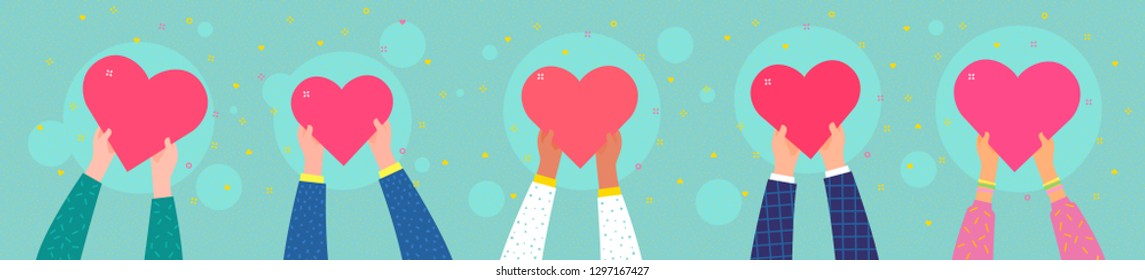 Concept of charity and donation. Give and share your love to people. Ppeople are holding hearts on their hands. Flat design, vector illustration.