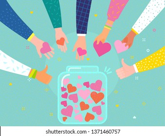 Concept of charity and donation. Give and share your love to people. Hands holding a heart symbol and put hearts in a glass jar with hearts. Flat design, vector illustration.