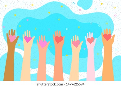 Concept of charity and donation. Give and share your love to people. Hands holding a heart symbol. Vector illustration.