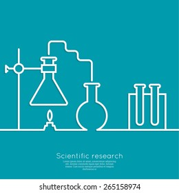 The concept of chemical science research lab retorts, beakers, flasks and other equipment.