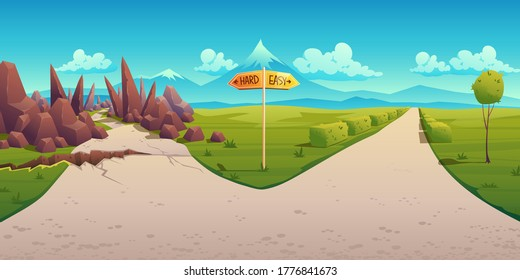 Concept of choice between hard and easy way. Vector cartoon landscape with road fork, direction sign, curvy path with rocks and straight simple road. Problem of choosing way