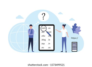 Concept choice domain name registration. A pensive man with a hand near the sub-gate decides which domain to choose for his website, online store, blog, landing page. Flat vector illustration isolated