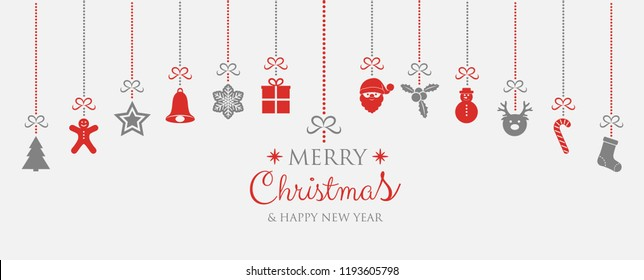 Concept of Christmas greeting card with hanging ornaments and greetings. Vector.