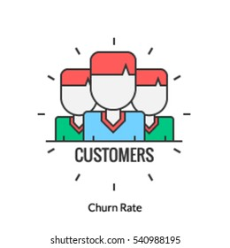 A concept of churn rate icon, customer abandon, number of customers left in a specific period of time