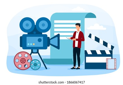 Concept of cinema, movie. Man actor character working at camera. Abstract concept. Cartoon flat vector illustration isolated on white background