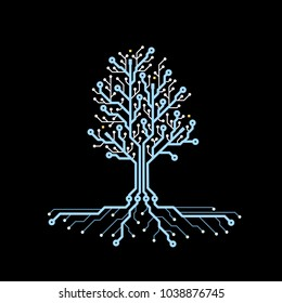 Concept circuit board tree. Futuristic background with tech tree. PCB. Future technology, blue cyber natural resources. Vector illustration.