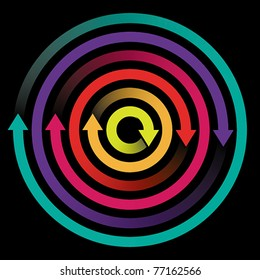 Concept of circulation, rotation with colored arrows, EPS 8, CMYK.