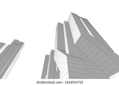 concept city architecture 3d vector illustration