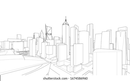 Concept city architecture vector illustration