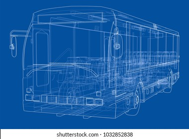 Concept city bus. Vector rendering of 3d. Wire-frame style. The layers of visible and invisible lines are separated