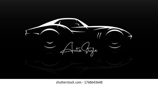 Konzept klassischen Sportwagen Silhouette. Automobil-Retro-Roadster-Showroom-Emblem. Automobil mit Vintage-Leistung. Design des Dealership Logos. Vektorgrafik.