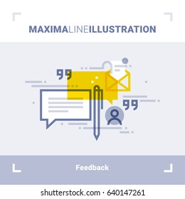 Concept of client feedback, testimonials and messages. Maxima line illustration. Modern flat design. Vector composition.