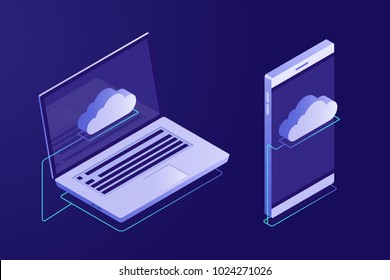 Concept of cloud computing. Devices connected to the cloud. Synchronizing devices with cloud storage. Vector illustration in Isometric style
