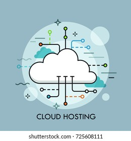 Concept of cloud computing service or technology, big data storage and hosting, online file download, upload, management and synchronization. Unique vector illustration for banner, website, poster.