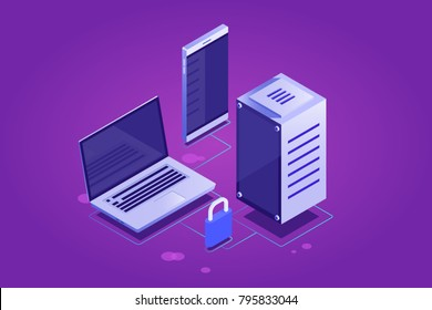 Concept of cloud information and data storage, clone files on cloud server, protection connection, synchronized digital devices