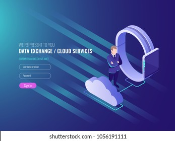 Concept of cloud server data exchenge, cloud services, smart watch with businessman, global network, internet data cecure IT isometric 3d vector