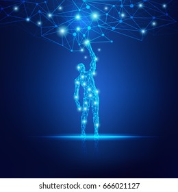 concept of cloud technology, digital man reaching futuristic connected line