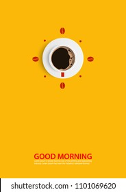 concept coffee cup time clock coffee Anytime, anywhere good morning Poster and text and vector and illustration