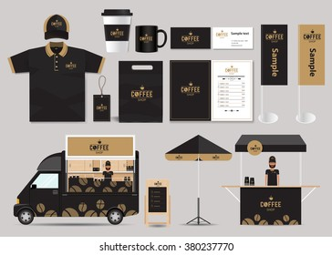 concept for coffee shop and restaurant identity mock up template. card .menu.polo shirt.vector.coffee logo