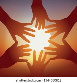 Concept of cohesion, with five outstretched hands forming a star, to symbolize commitment and team spirit.