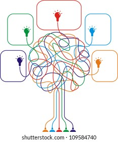 Concept of colorful tree with bulbs for different business design. Vector illustration