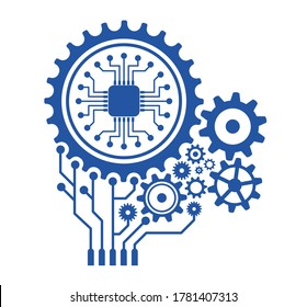 The concept of combining units of precision mechanics with electronics. Vector gears modern mechanism industrial concept.
