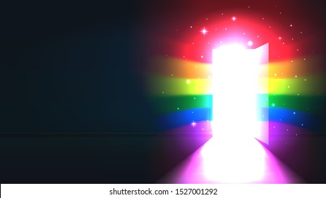 Concept coming out LGBT - LGBT rainbow light from the open door of a dark room. Symbol of lesbian, transgender, gay, bisexual. National coming out day. Open door rainbow shine. Vector illustration