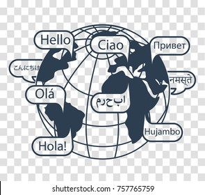 concept of communication in different languages in the form of earth and greetings. Icon, silhouette in the linear style
