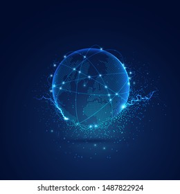 concept of communication technology, world map globe in dotted futuristic style