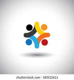 Concept of community unity, solidarity & people icons - vector graphic. This illustration can also represent colorful kids playing together, children in school playground, employees meeting