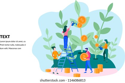 Concept company is engaged in the joint construction and cultivation of money cash profits for presentation, social media, documents, cards, posters. Vector illustration career growth to success