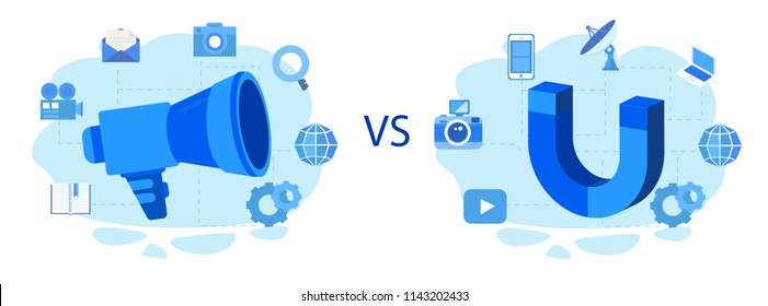 Concept Comparison between inbound and outbound marketing for web page, banner, social media, documents, cards, posters. Vector illustration on-line and offline interruption and permission marketing