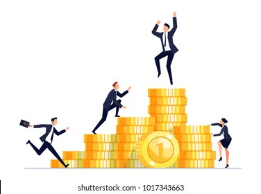 Concept of competition. Businessmen in a flat style climb on piles of gold coins. Vector illustration.