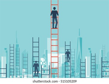 A concept of competition, and problem solving. businessmen are racing to achieve the highest point using ladders. city view. vector design.