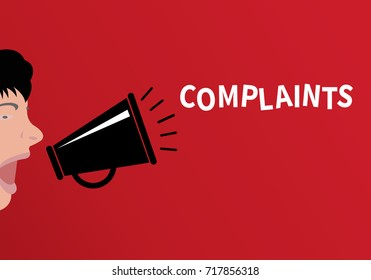 Concept of complaint People shouting through the megaphone with the word complaints - flat design, vector illustration