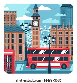 Concept composition of london cityscape, landmarks, buildings, bus, phone box.