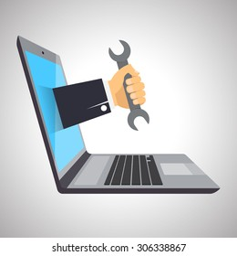 Concept of computer repairing service, isolated on white background. Laptop, hand with wrench. EPS10. Vector illustration.