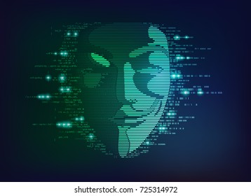 concept of computer virus, internet piracy and hacking, shape of a anonymous mask combined with program code