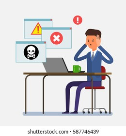 Concept of computer viruses, system errors. Cartoon business man sitting at the table and working on the laptop. Flat design, vector illustration.