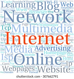 Concept or conceptual abstract word cloud   as metaphor for internet, network, Website