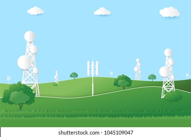 Concept of connecting the communication system.Telecommunication tower with copy space on the field.Digital wireless connection. system.Paper art style.vector illustration.