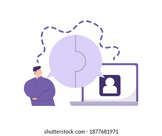 a concept of connecting thoughts, understanding the wishes and desires of customers or clients. illustration of a man chatting with other people using a laptop. flat style. vector design elements