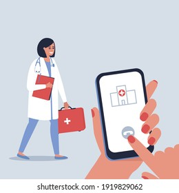 The concept of consultation and treatment of patients at home. House call for a doctor. Doctor's visit to patients. Flat vector illustration.